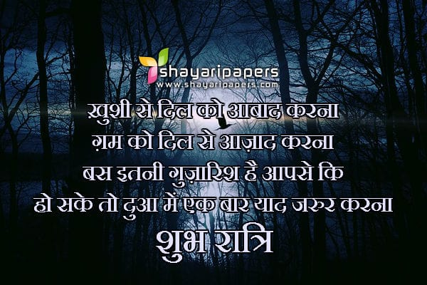 good night shayari for someone special